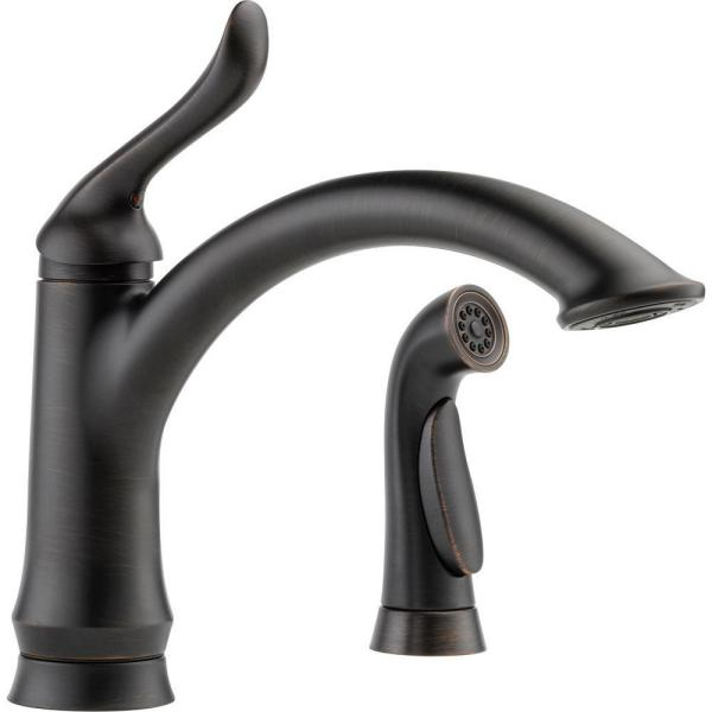 Linden Single-Handle Standard Kitchen Faucet with Side Sprayer in Venetian Bronze