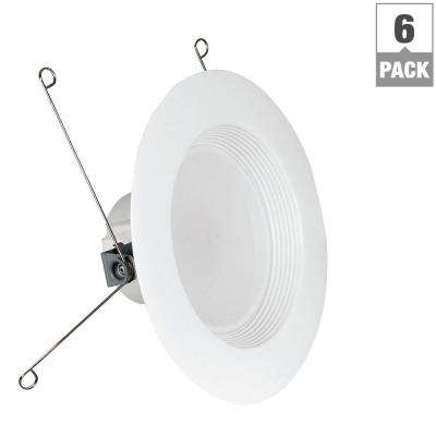 75W Equivalent Soft White 5/6 in. White Baffle-Trim Recessed Retrofit Downlight LED 90 CRI Maintenance Pack (6-Pack)