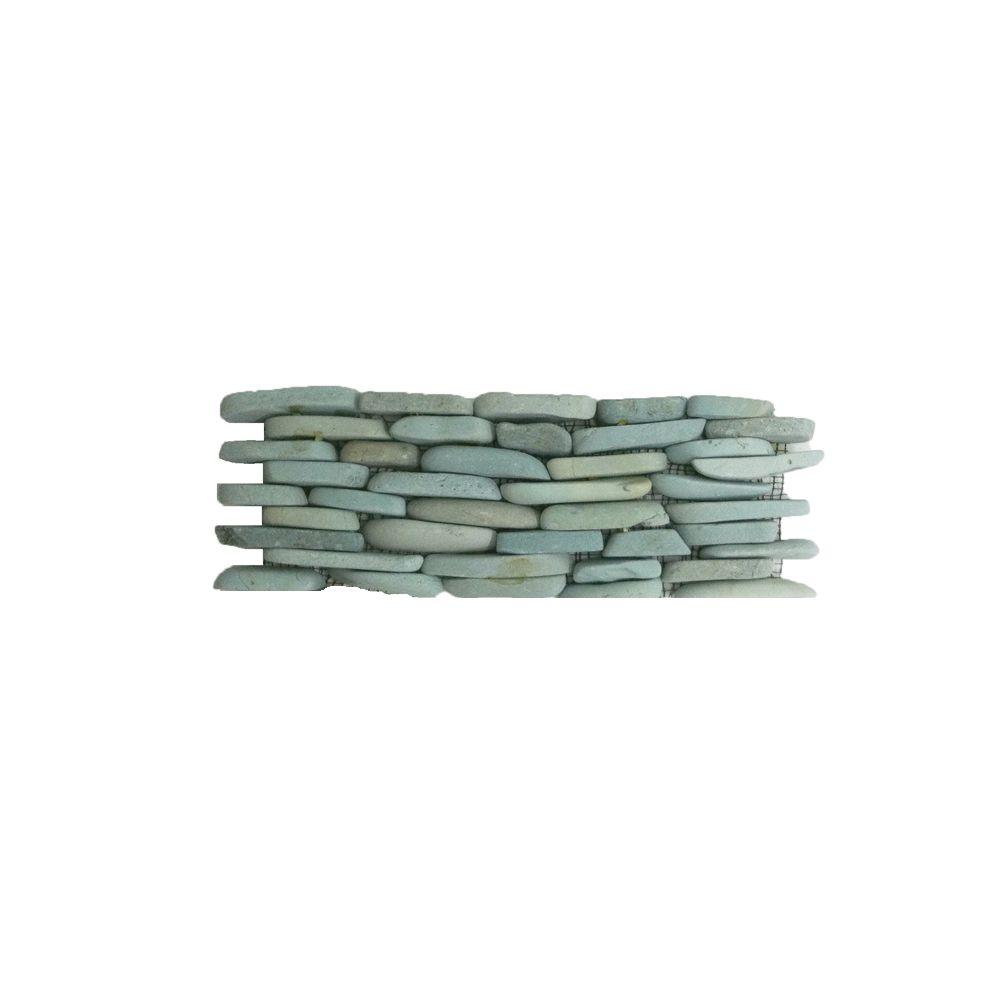 Solistone Standing Pebbles Cypress 4 in. x 12 in. x 15.87 Natural Stone Pebble Mesh-Mounted Mosaic Wall Tile (5 sq. ft. / case)