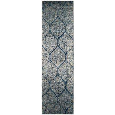 Madison Navy/Silver 2 ft. 3 in. x 14 ft. Runner Rug