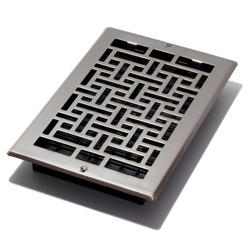 Decor Grates 6 in. x 10 in. Oriental Nickel Wall Register