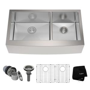 Kraus Farmhouse Apron Front Stainless Steel 36 inch Double Bowl Kitchen Sink Kit by KRAUS