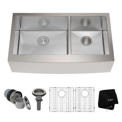 Farmhouse Apron Front Stainless Steel 36 in. Double Bowl Kitchen Sink Kit