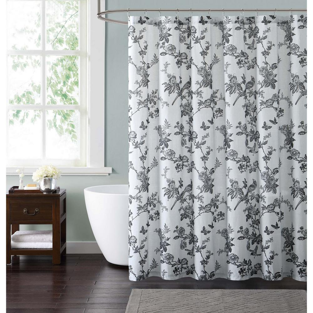 Style 212 Lisborn Black 72 in. White and Black Shower Curtain ...