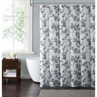 Lisborn Black 72 in. White and Black Shower Curtain