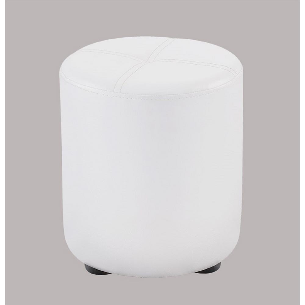 Magnificent Kings Brand Furniture Pouf White Vinyl Round Ottoman W 5123 Uwap Interior Chair Design Uwaporg