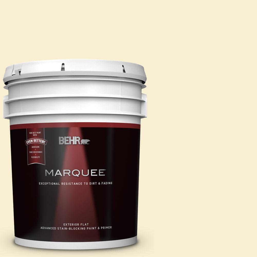 Behr Marquee 5 Gal Yl W03 Honied White Flat Exterior Paint And Primer In One 445005 The Home Depot