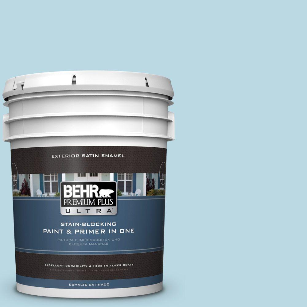 BEHR Premium Plus Ultra 5-gal. #S460-1 Air Blue Satin Enamel Exterior Paint