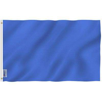 Fly Breeze 3 ft. x 5 ft. Polyester Solid Blue Flag 2-Sided Flags Banner with Brass Grommets and Canvas Header