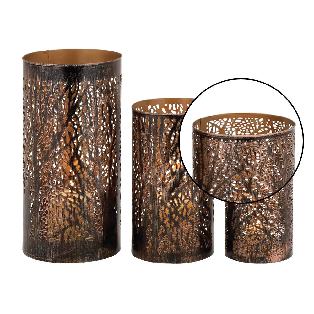 Iron Hurricane Candle Holders In Bronze Br With Tree Branch Cutouts Set Of 3 22098 The Home Depot