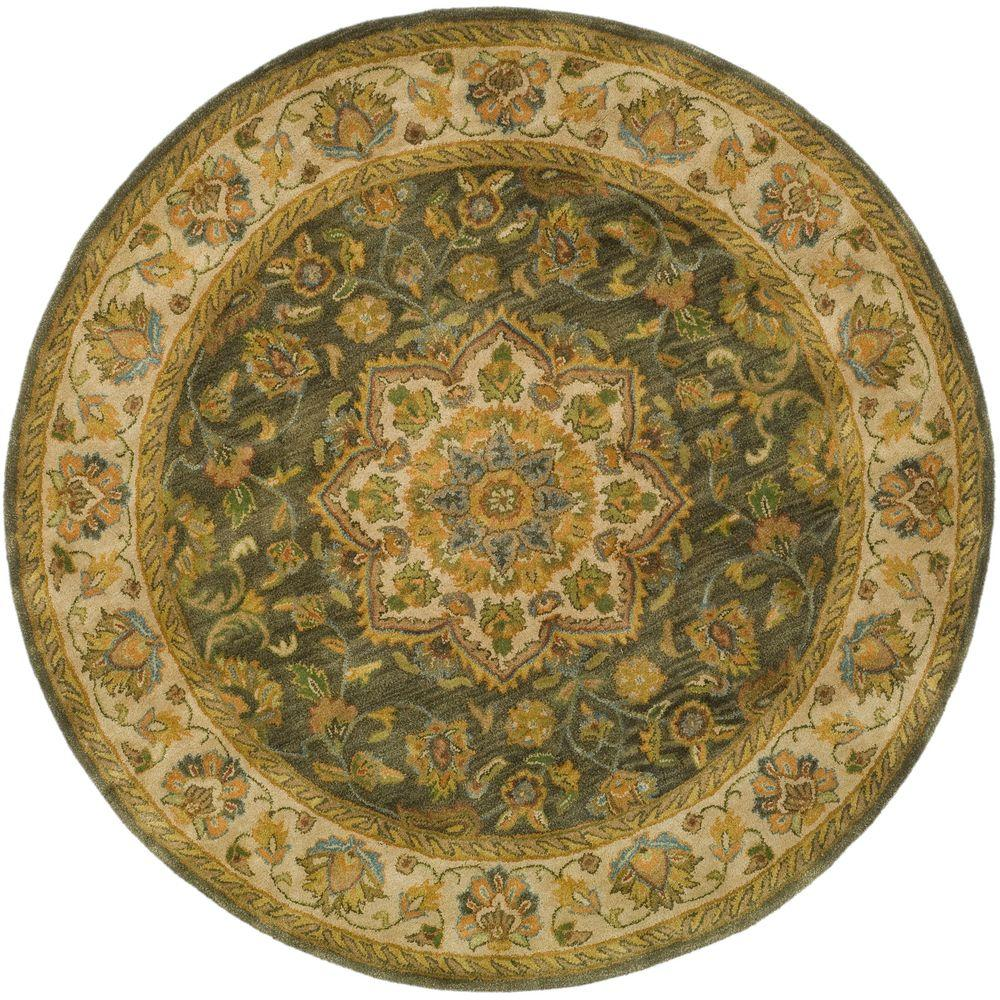 Safavieh Heritage Green/Taupe 8 ft. x 8 ft. Round Area Rug