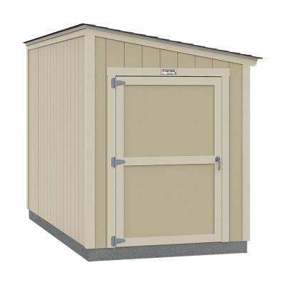 Installed Tahoe Lean-To 6 ft. x 12 ft. x 8 ft. 3 in. Un-Painted Storage Building Shed with Shingles and End Wall Door