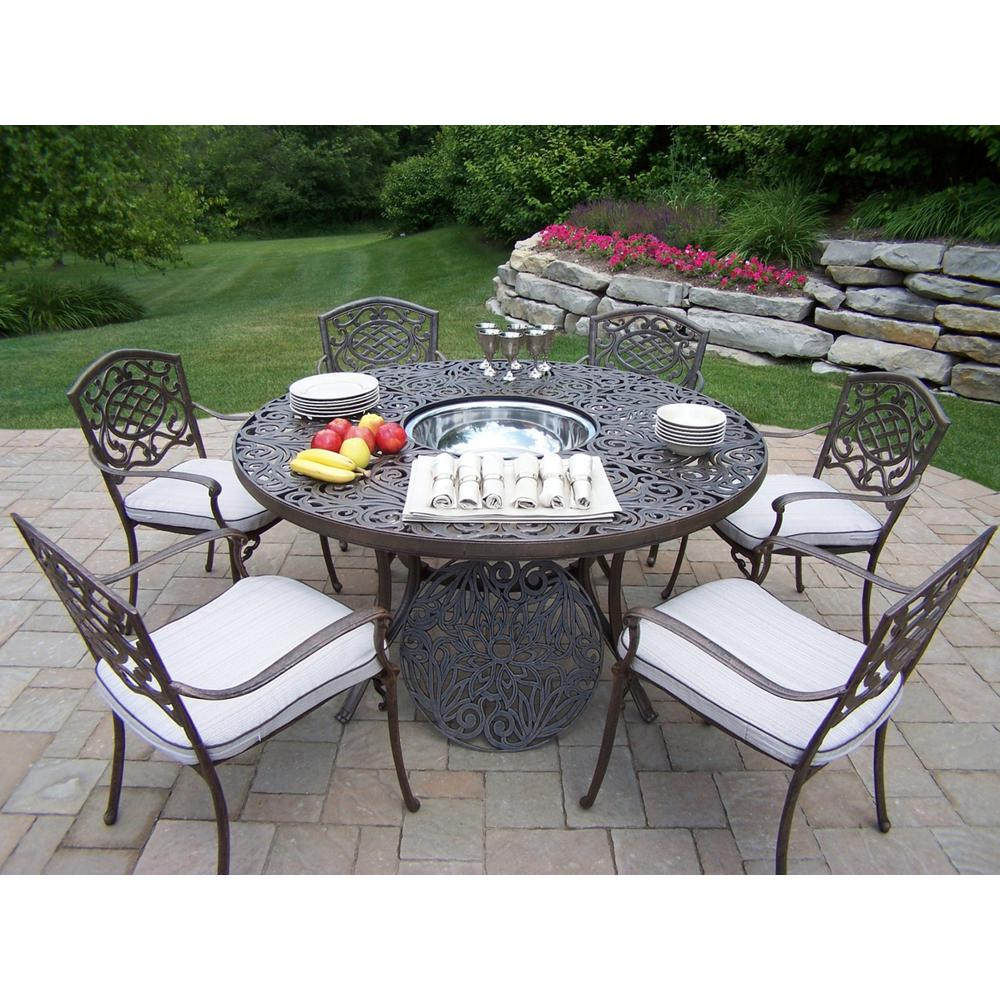8 Piece Aluminum Outdoor Dining Set With Round Table 6 Cushioned Stackable Chairs And Stainless Steel Ice Bucket