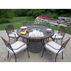 8-Piece Aluminum Outdoor Dining set with Round Table 6-Cushioned Stackable Chairs and Stainless Steel Ice Bucket by