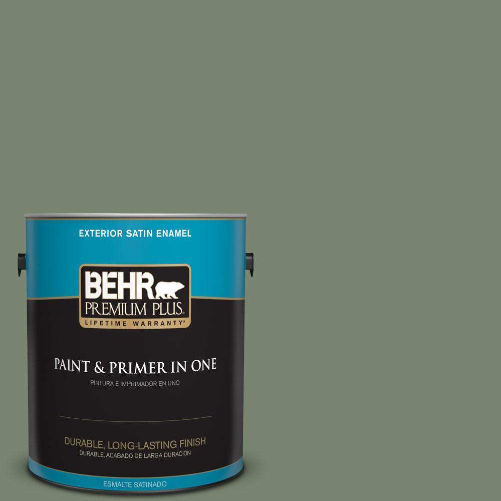 1-gal. #440F-5 Winter Hedge Satin Enamel Exterior Paint
