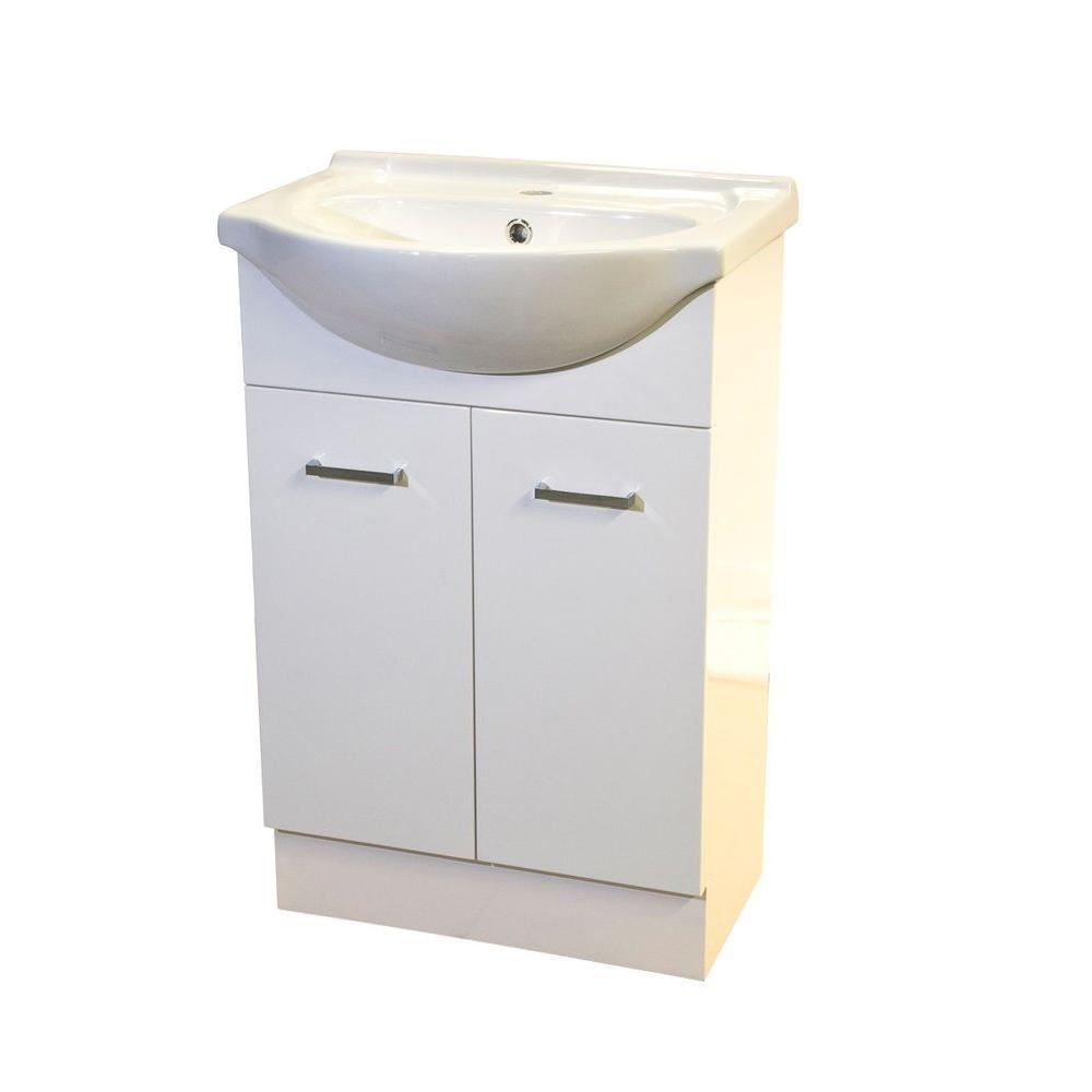 22 in. W x 18 in. D x 33 in H Semi-Contemporary Vanity in White with Vanity Top in White with White Basin