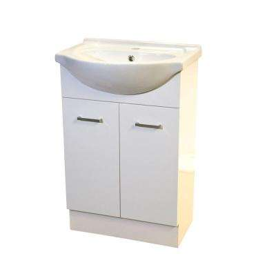 22 in. W x 18 in. D x 33 in H Semi-Contemporary Vanity in White with Vanity Top in White with White Basin