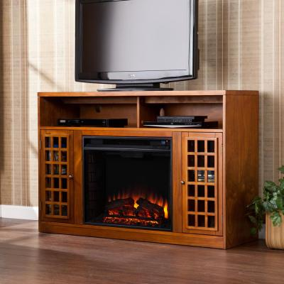 Alford 48 in. W Media Stand Electric Fireplace in Glazed Pine