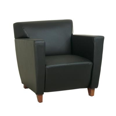 Black Bonded Leather Club Chair with Cherry Finish