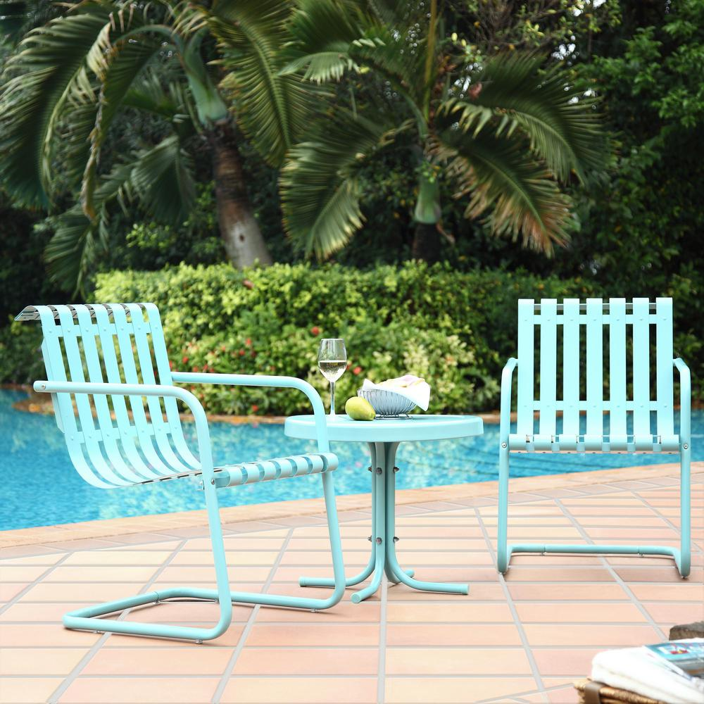 Crosley Gracie 3-Piece Metal Outdoor Conversation Seating Set - 2-Chairs and Side Table in Caribbean Blue