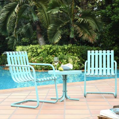 Gracie 3-Piece Metal Outdoor Conversation Seating Set - 2-Chairs and Side Table in Caribbean Blue