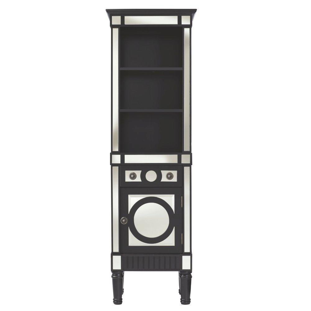 Home Decorators Collection Reflections 20 in. W Empire Linen Cabinet in Black
