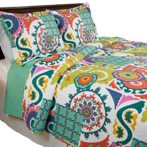 Lavish Home Sybil Green Polyester Full/Queen Quilt 66-10038-FQ
