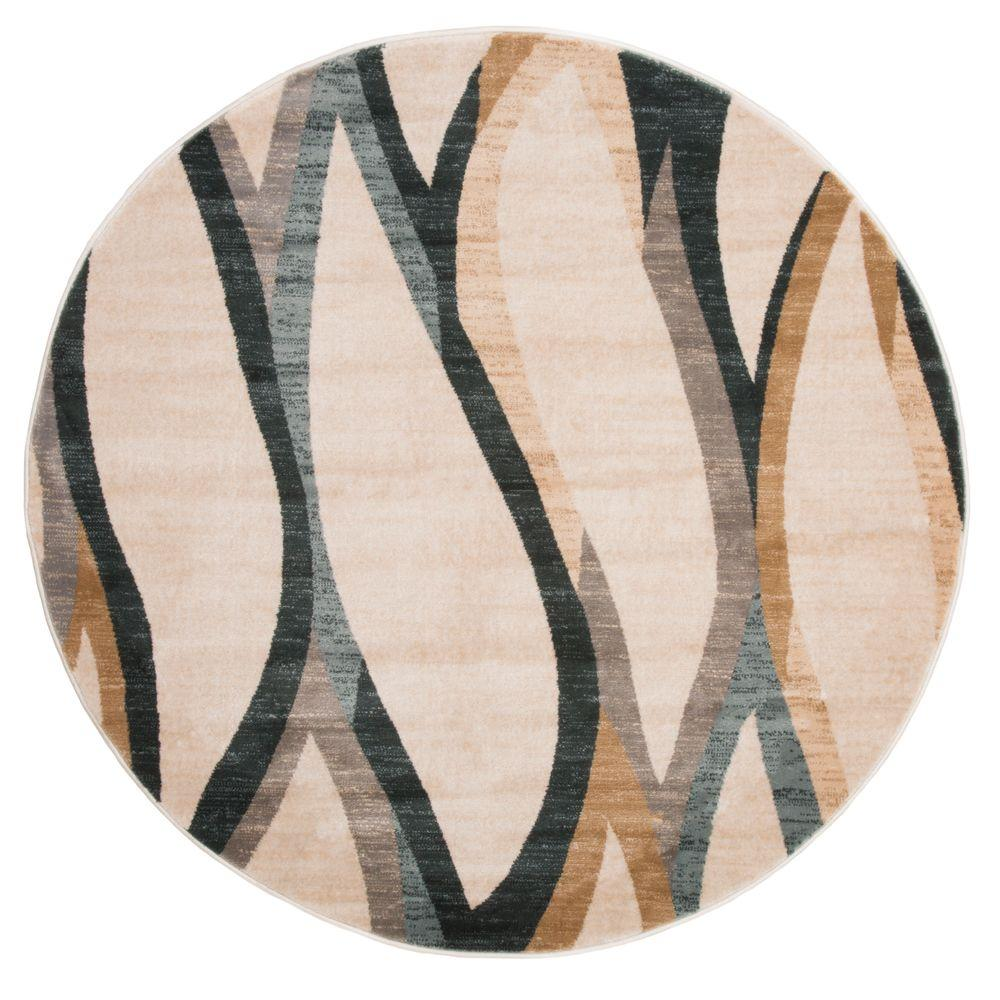 Lavish Home Opus Contemporary Curves Cream 5 Ft X Round Area Rug