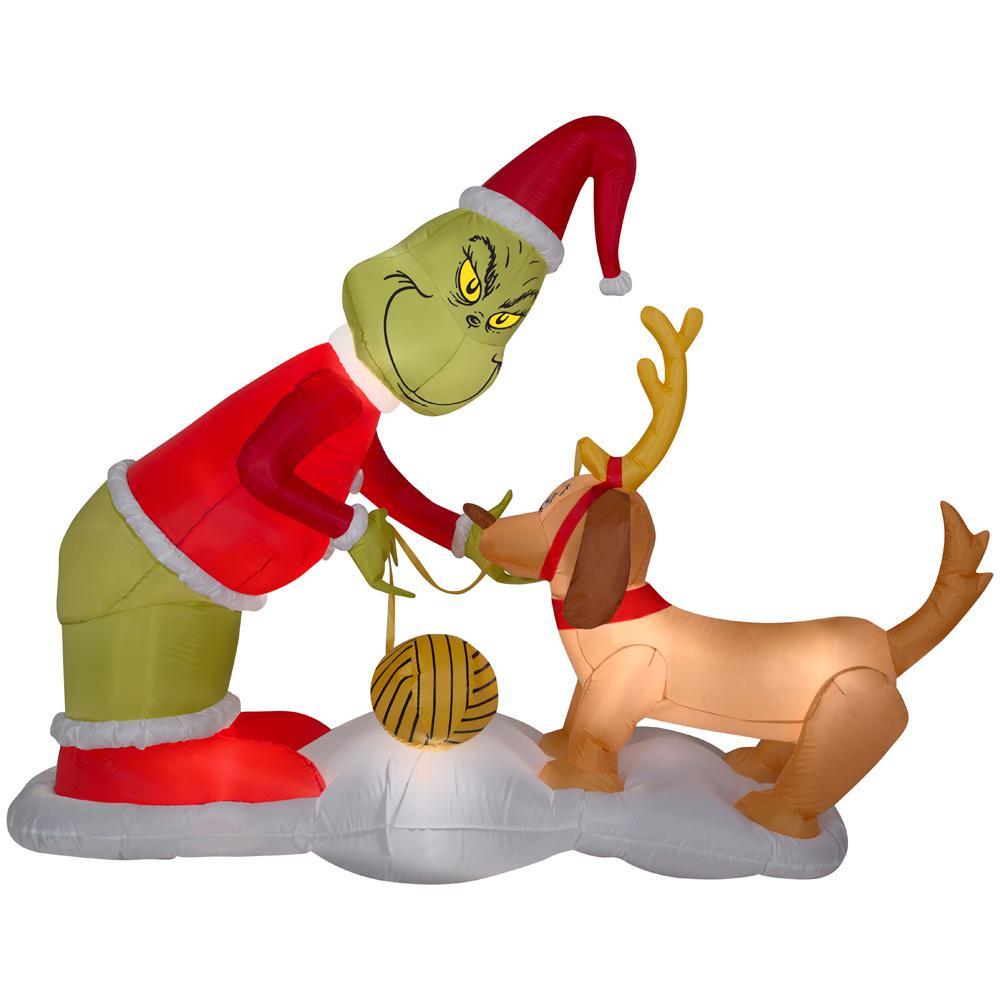 holiday 512 ft h x 65 ft w inflatable airblown grinch and max scene - Outdoor Christmas Inflatables