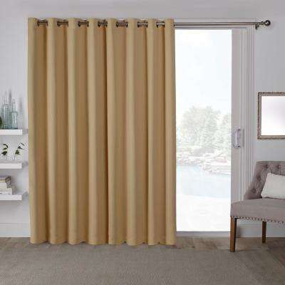 Sateen Patio 100 in. W x 84 in. L Woven Blackout Grommet Top Curtain Panel in Sundress Yellow (1 Panel)