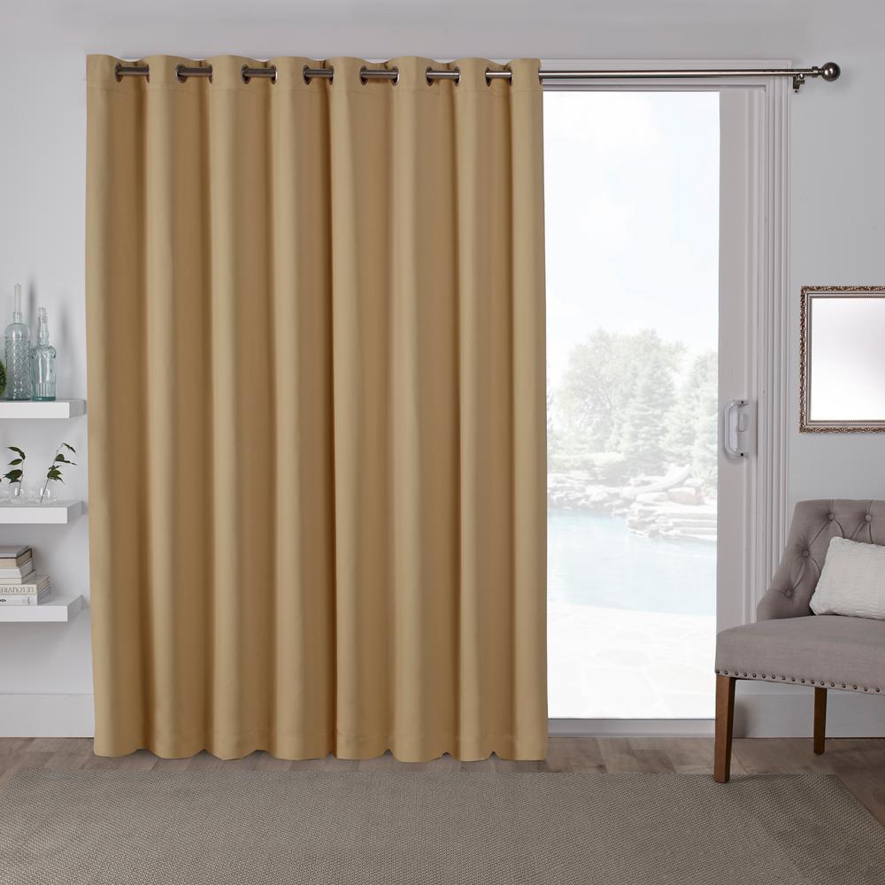 Sateen Patio Sundress Yellow Blackout Grommet Top Wide Window Curtain