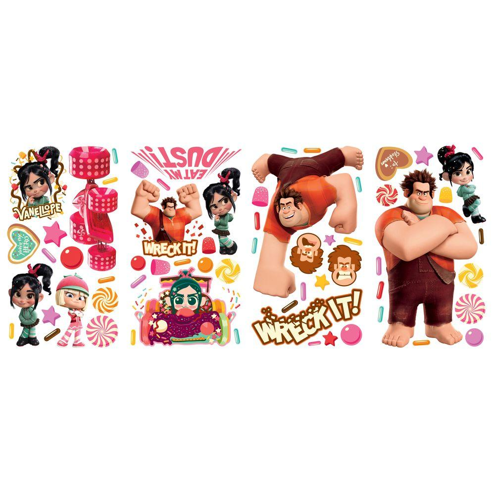 null 10 in. x 18 in. Wreck it Ralph 64-Piece Peel and Stick Wall Decals-DISCONTINUED