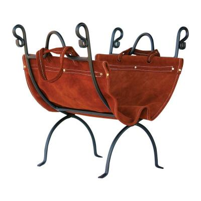 Olde World Iron 23 in. W Firewood Rack with Brown Suede Leather Carrier