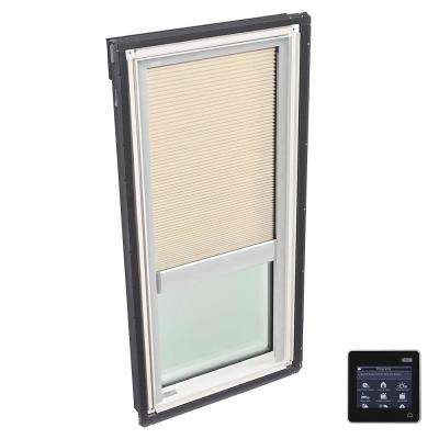 21 in. x 37-7/8 in. Fixed Deck-Mount Skylight with Tempered Low-E3 Glass and Beige Solar Powered Room Darkening Blind