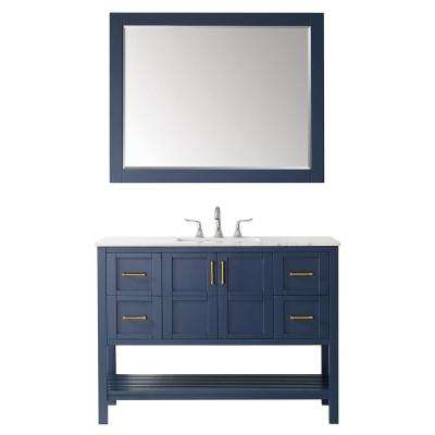 """Florence 48"""" Vanity in RoyalBlue with Carrara White Marble Countertop With Mirror"""