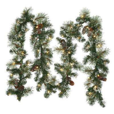 9 ft. Sparkling Pine Artificial Garland with 50 Clear Lights