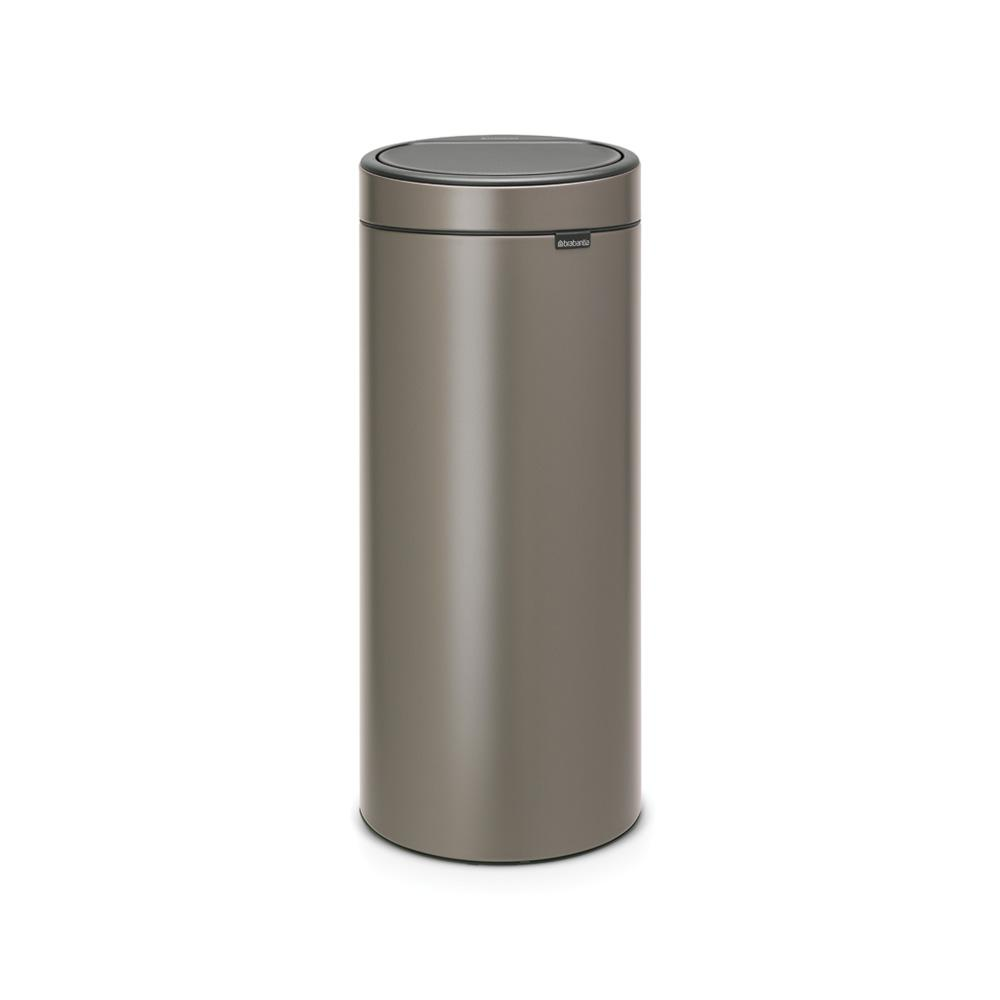 Brabantia Touch Bin 30 L Flat Top.Brabantia 8 Gal Touch Top Trash Can In Platinum