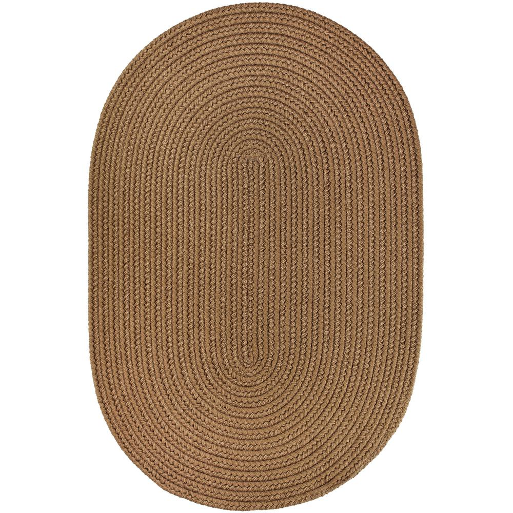Rhody Rug Texturized Solid Lt Brown Poly 8 Ft X 11 Oval Braided Area