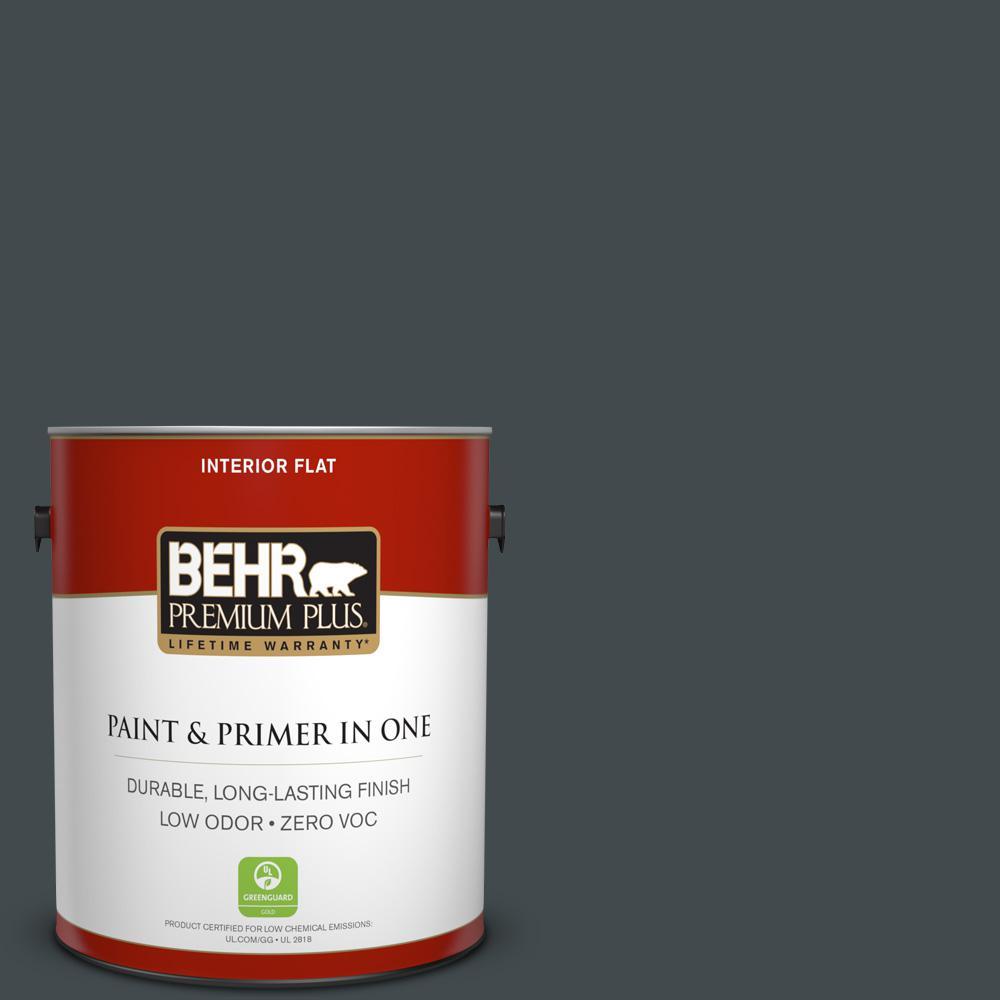 BEHR Premium Plus 1-gal. #730F-7 Black Sable Zero VOC Flat Interior Paint