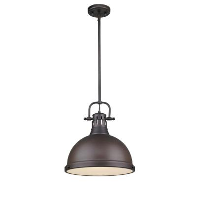 Duncan 1-Light Rubbed Bronze Pendant with Rod