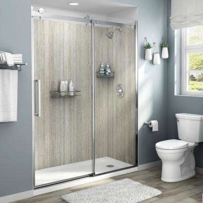 Passage 60-in. x 72-in. 4-Piece Glue-Up Shower Alcove Wall in Pewter Travertine