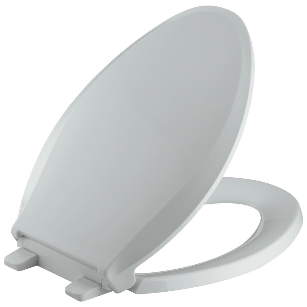 KOHLER Cachet Quiet-Close Elongated Closed-Front Toilet Seat with ...