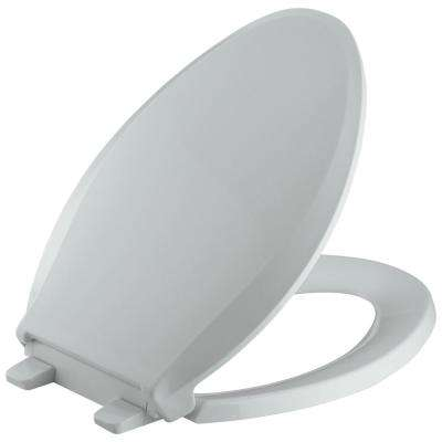 Cachet Quiet-Close Elongated Closed-Front Toilet Seat with Grip-Tight Bumpers in Ice Grey