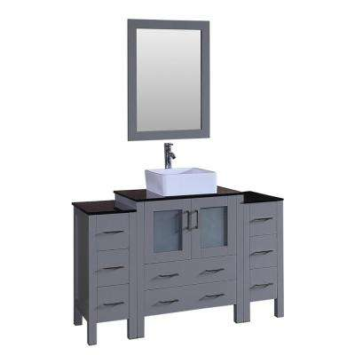 Bosconi 54 in. Single Vanity in Gray with Vanity Top in Black with White Basin, Polished Chrome Faucet and Mirror