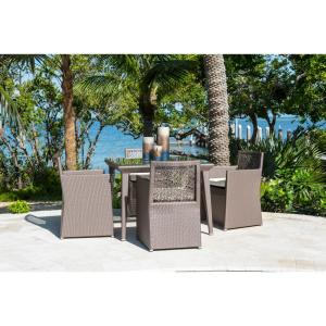 Panama Jack Maldives Gray 5-Piece Wicker Outdoor Dining Set with Off-White Cushions