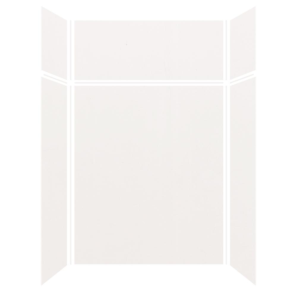Transolid Expressions 36 in. x 60 in. x 96 in. 4-Piece Easy Up Adhesive Alcove Shower Wall Surround in White