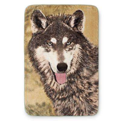 80 in. x 60 in. High Pile Brown Wolf Raschel Knit Throw