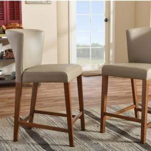 Awesome Baxton Studio Olivia Taupe Faux Leather Upholstered 2 Piece Bralicious Painted Fabric Chair Ideas Braliciousco