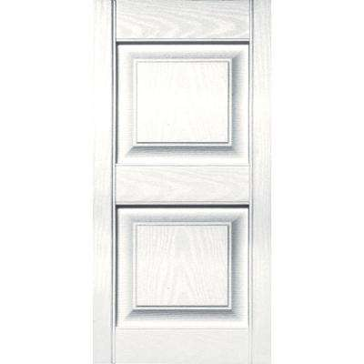 15 in. x 31 in. Raised Panel Vinyl Exterior Shutters Pair in #117 Bright White