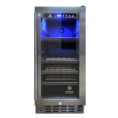 15 in. W 33-Bottle Smoked Black Stainless Steel Wine Cooler
